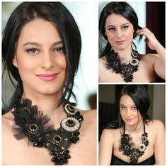 Black onyxcrystal statement necklace by Diomios on Etsy