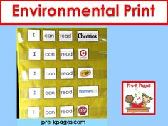 Environmental print literacy ideas for your pre-k, preschool or kindergarten classroom.