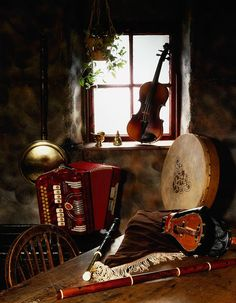 The Irish Image Collection Premium Thick-Wrap Canvas Wall Art Print entitled Traditional Musical Instruments In Old Cottage, Ireland, None Irish Cottage, Old Cottage, Irish Instruments, Irish Images, Erin Go Bragh, Irish Culture, Celtic Music, Irish Blessing, Irish Celtic