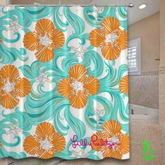 Cheap Lilly pulitzer wave Shower Curtain