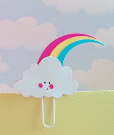 Rainbow Cloud Filofax Bookmark Page Clip by KawaiiPaperie on Etsy, $1.20
