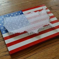 USA Flag String Art Red, White and Blue: