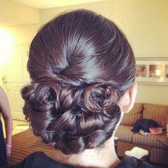 Beautiful elegant low updo for wedding by Angela Allen