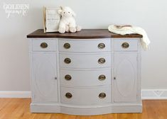 Updated Changing Table makeover with Paris Grey Chalk Paint® decorative paint by Annie Sloan   By Allison of The Golden Sycamore