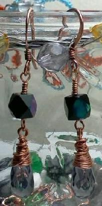 Swarovski Crystal Earrings wire wrapped in copper and copper ear-wire $7.00