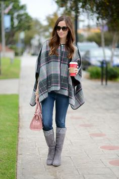 plaid cape with jeans and boots via M Loves M @marmar