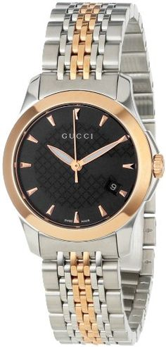 Gucci Women s YA126512 Gucci timeless Steel and Pink PVD Black Dial Watch bfbd2bd905d0