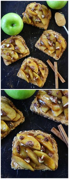 Peanut Butter Toast with Skillet Cinnamon Apples Recipe on twopeasandtheirpod.com This easy peanut butter toast with warm cinnamon apples is the perfect snack or breakfast for fall!