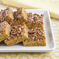 Brown Sugar-Pecan Coffee Cake | Start your morning with this delicious coffee cake and you'll be ready to tackle the day. A brown sugar crumb mixture forms the crust, and cinnamon-sugar pecans add a crunchy topping.
