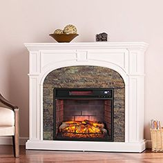 Amazon.com: Southern Enterprises Timothy Infrared Electric Fireplace, White Finish with Faux Stone: Kitchen & Dining