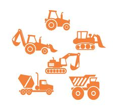Boys Construction Vehicles.  I have more childrens decals in my shop. If you like what you see, visit my shop to see them all. See the link