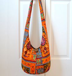 Hobo Bag, Vintage, Sling Bag, Colorful, Orange, Geometric, Patchwork, Hippie Purse, Crossbody Bag