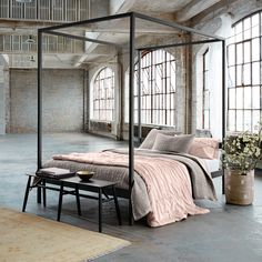 Create an elegant bedroom with pure silk in elegant blushing neutrals.
