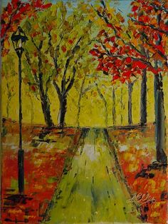 Palette Knife Art Oil Painting. A Walk in Paris by @Lisa Elley.