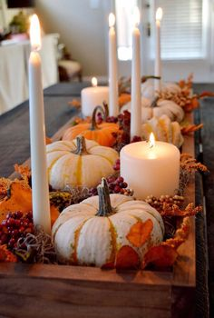 Centerpiece: white tapers, mini white pumpkins, leaves, wooden tray
