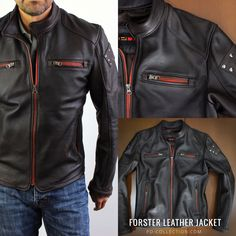 Designed in a narrow fit this FORSTER Jacket recalls a vintage café racer style with some modern studs on both arms. , a nice shaped snap-fastening collar and contrasting orange zippers.  Motorcycle Club logos and customization welcome.  Material: 100% Lambskin Leather  Thickness: 1.0mm  Color: Dark Brown Leather Jacket Outfits, Men's Leather Jacket, Lambskin Leather, Black Leather Motorcycle Jacket, Motorcycle Outfit, Captain America Leather Jacket, Police Jacket, Leather Fashion, Mens Fashion