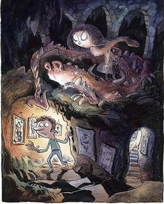 """Creeping up the stairs in an underground lair. What lurks within? Who knows? But whatever it is it'll probably flay you alive given half the chance. Hold on this is a kids story; it'll probably say 'boo' is what I mean. Another scene pin-up drawing for """"The Weirdlys"""" comic.  #comic #illustration #dragon #pinup #monster #watercolour #penandink #characterdesign #thephoenixcomic"""
