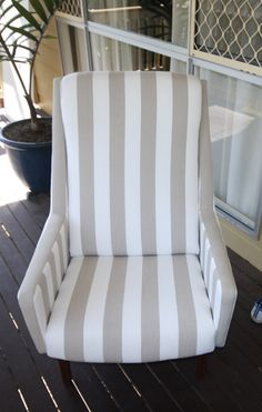 Striped beachy chair suitable for outdoors or indoors. Outdoor Chairs, Outdoor Furniture, Outdoor Decor, Refurbishment, Accent Chairs, Stripes, Indoor, Outdoors, Interior Design