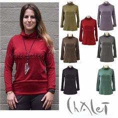 """CHALET Bamboo MOCK T-NECK Top. CHALET USA. """"CHALET, Made in USA,65% Bamboo, 28% Cotton,7% Spandex, Hand Wash Cold, Hang or Line Dry."""". The mid-weight bamboo/cotton jersey fabric has a wonderful fluid drape and luxuriously soft, silky feel. 
