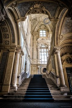 ganymedesrocks: mostlyitaly: Scalone di Palazzo Madama (Turin, Italy) by Diego Milanese Life is an ascension let us not only make it blissful, but also forever this elegant! Architecture Antique, Neoclassical Architecture, Historical Architecture, Beautiful Architecture, Beautiful Buildings, Art And Architecture, Architecture Details, Beautiful Places, Basilica San Pedro