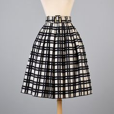 Vintage 50s Black White Windowpane Plaid by StyleandSalvage