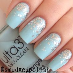 sparkly blue nails♡ Shop and Save up to 90% on Makeup and Cosmetic Tools at www.mymakeupbrushset.com