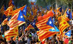 Supporters of independence for Catalonia demonstrating in Barcelona