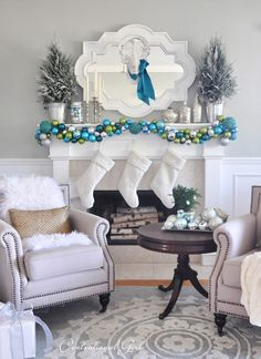 Merry and Bright Mantel @centsational girl - tutorial for ornament garland