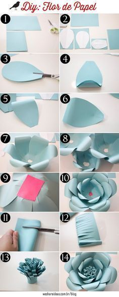 """Discover thousands of images about como fazer flores de papel para festas passo a passo"", ""Discover thousands of images about DIY Giant Paper flowers Diy Paper, Paper Art, Paper Crafting, Giant Paper Flowers, Diy Flowers, Flower Diy, Flowers Decoration, Wedding Flowers, Origami Flowers"