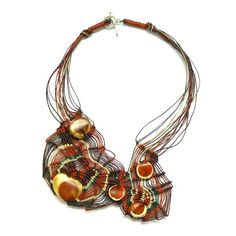 Necklace | Ifat Nesher. 'Red Fantasy'. Macrame knots in thin linen threads and 5 handmade beads.