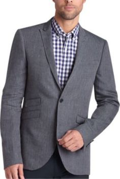 Alta Moda Blue and White Dotted Stripe Slim Fit Sport Coat - Slim Fit (Extra Trim) | Men's Wearhouse