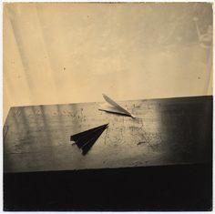 Le photographe japonais Masao Yamamoto crée ces images poétiques et délicates qui évoquent des souvenirs évanescents à partir de paysages et de natures mortes. Il réalise lui-même les tirages de ses photographies, toujours dans de petits formats, et les travaille avec du thé et d'autres techniques pour les user et donner l'impression qu'ils ont subis …