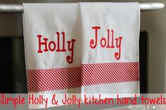 Piece N Quilt: Simple Holly & Jolly Kitchen Hand Towels - a free tutorial