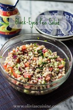 Delicious and colorful Black-Eyed Pea Salad! Great source of protein for vegans and vegetarians!