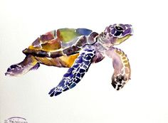 "ORIGINAL Sea Turtle watercolor painting 9""x12"" by Suren Nersisyan on ETSY $26.00 . Artist never sells prints or copies of his work. The artwork is truly OOAK!"
