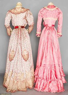 TWO PRINTED SILK AFTERNOON DRESSES, 1900-1905 Augusta Auctions