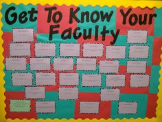 Fun facts about faculty in your UniversitySeptember Bulletin Board.Fun facts about faculty in your University School Week, School Staff, School Counselor, School Classroom, Classroom Crafts, Teacher Morale, Staff Morale, Employee Morale, Teachers Room