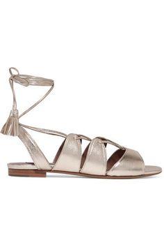 Tabitha Simmons - Cruz lace-up metallic leather sandals - #metallicleather - Tabitha Simmons - Cruz lace-up metallic leather sandals... Leather Espadrilles, Leather Loafers, Leather Sandals, Block Heel Loafers, Heeled Loafers, Gold Ballet Flats, Leather Ballet Flats, Tabitha Simmons, Black Pumps Heels