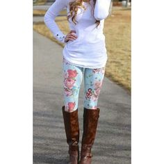 floral leggings with boots