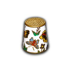 CHINESE CLOISONNE ENAMEL BRASS THIMBLE FLORAL & BUTTERFLY DESIGN