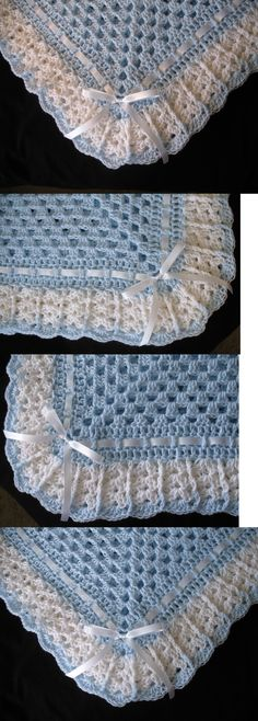 Blankets and Throws 3081: Hand-Crochet Blue And White Square Baby Blanket Afghan -> BUY IT NOW ONLY: $32.99 on eBay!
