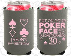 30th Birthday, 30th Neoprene Birthday, Las Vegas Birthday, Poker Birthday, Casino Birthday, Neoprene Birthday Can Coolers (20062)