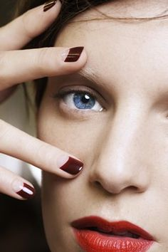 burgundy half moon nails