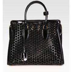 Alexander McQueen Heroine Medium Patent Leather Honeycomb Top Handle... ($3,560) ❤ liked on Polyvore