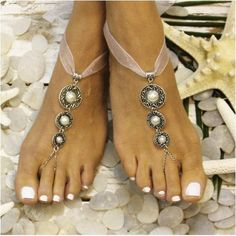 Delicate ribbon barefoot sandals. Dainty silver filigree and pearl details with a shear ribbon that wraps around your ankles. Handmade. Catherine Cole Studio beautiful barefoot sandals are very elegan