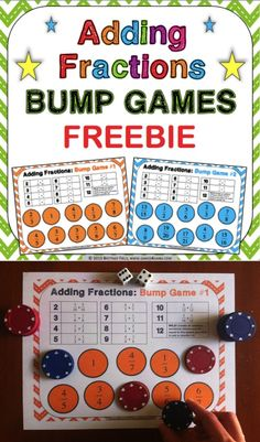 This FREE Adding Fractions Bump Games contains 2 different bump games to help students practice adding fractions with like and unlike denominators. These bump games are so simple to use, and take a minimal amount of prep. Simply print out the game sheet, 4th Grade Fractions, Adding And Subtracting Fractions, Teaching Fractions, Fractions Worksheets, Fifth Grade Math, Teaching Math, Teaching Ideas, Fourth Grade, Second Grade