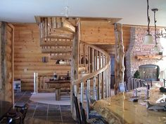 Custom circular stairway with northern white cedar balusters
