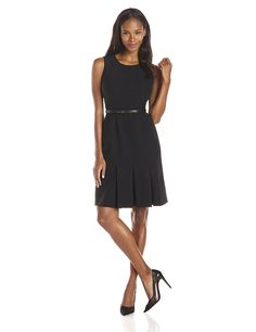 Calvin Klein Women's Sleeveless Belted Dress *** This is an Amazon Affiliate link. Click image for more details.