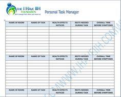I Have IIH Personal Task Manager Log Sheet