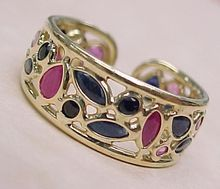 Vintage Sapphire & Ruby Ring 14K, Gold Wide Band Pierced Style